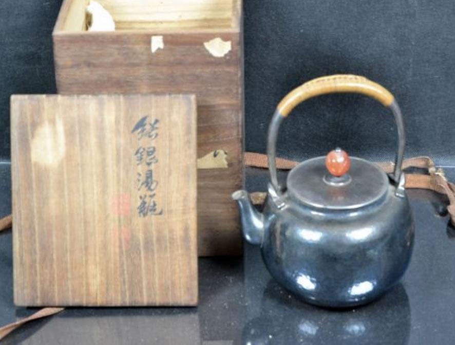 「【四世秦蔵六造】煎茶道具 雪丸形 純銀湯沸 瑪瑙摘」450,000円!
