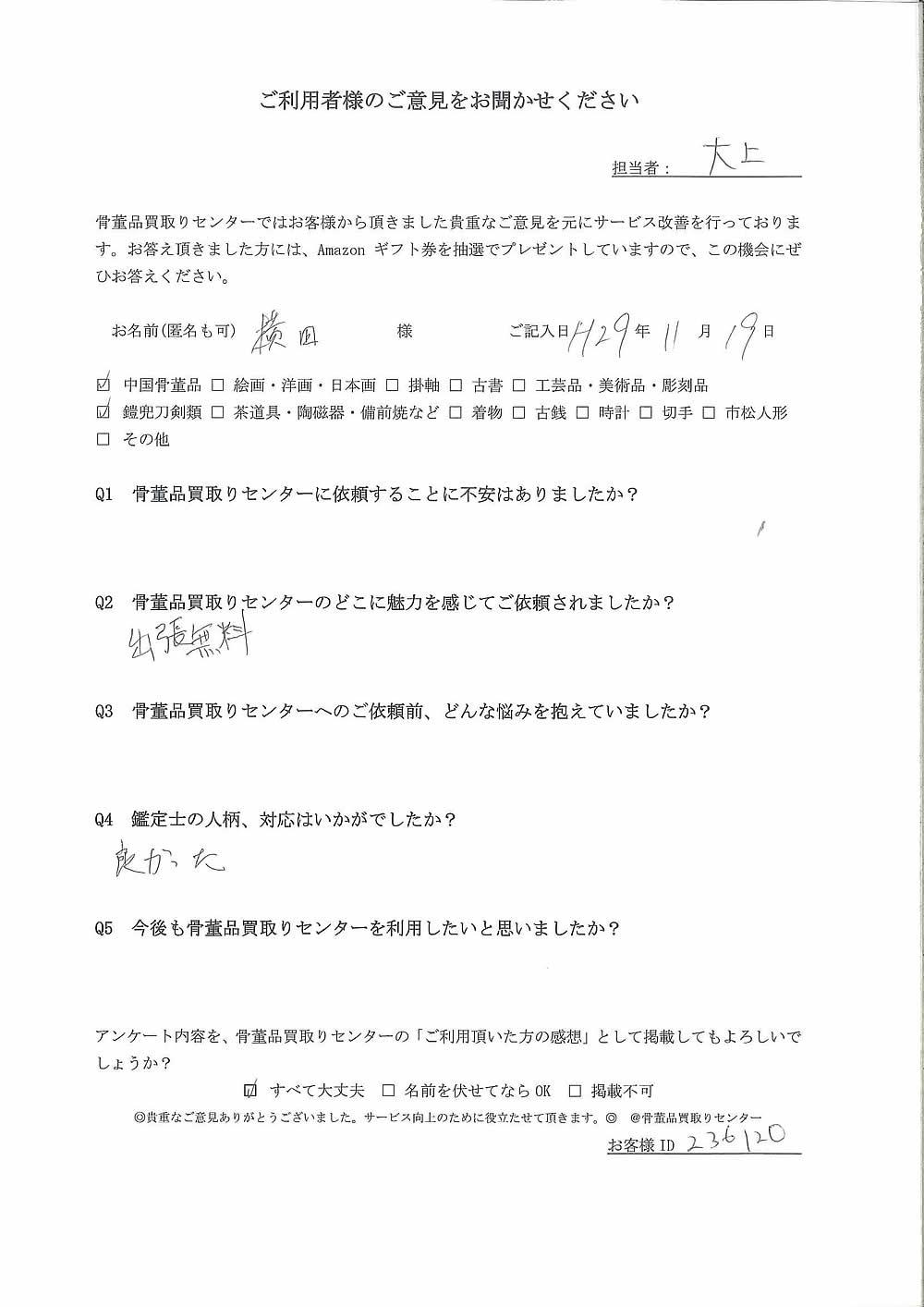 【大阪】中国骨董品、鎧兜刀剣類買取り ご利用者様の声