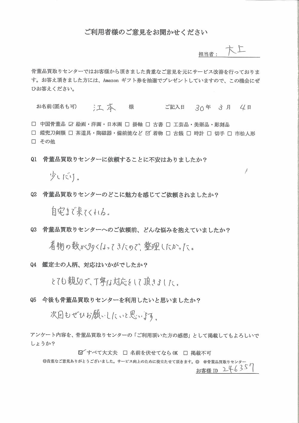 【熊本】絵画・洋画・日本画、着物買取り ご利用者様の声