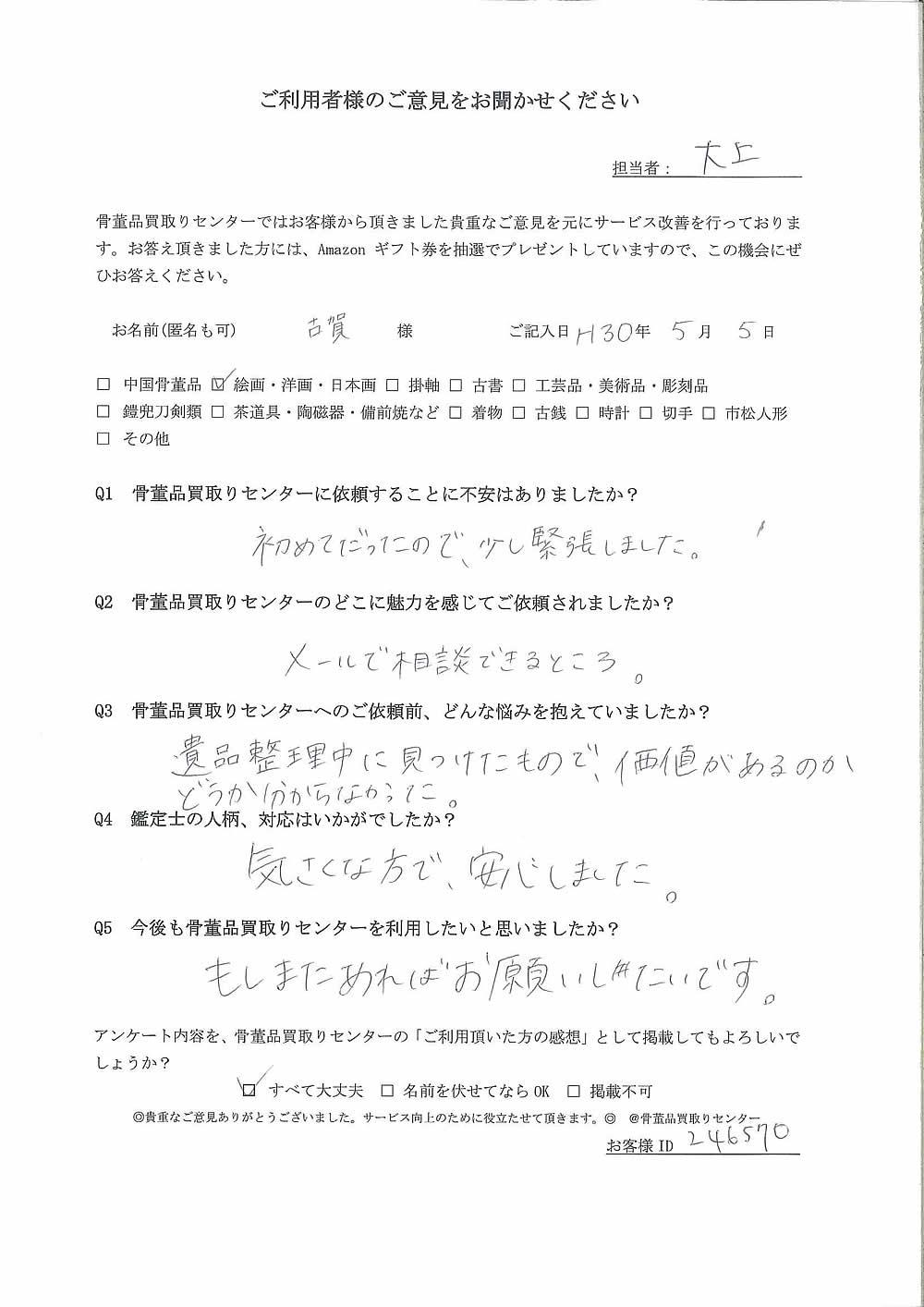 【宮崎】絵画・洋画・日本画買取り ご利用者様の声