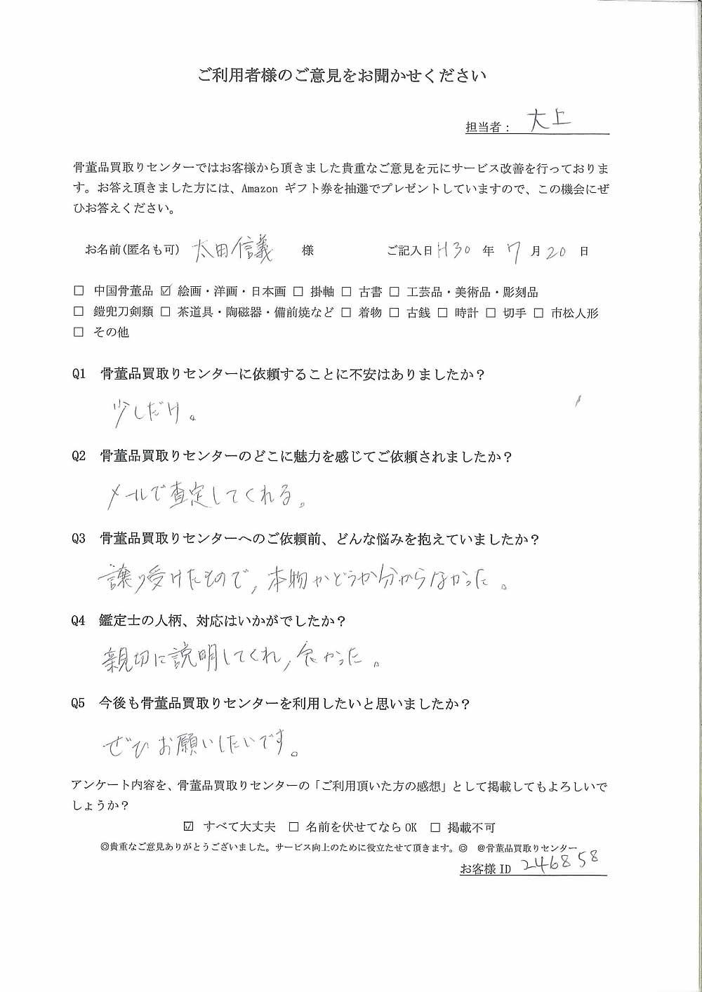 【仙台】絵画・洋画・日本画買取り ご利用者様の声
